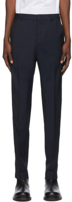 Valentino Navy Wool and Mohair Stripe Trousers
