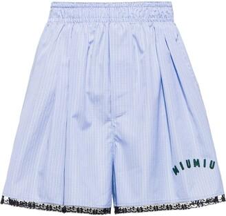 Miu Miu Check-Print Poplin Shorts