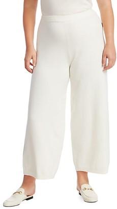 Joan Vass, Plus Size Classic-Fit Wide-Leg Sweater Pants