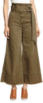 Cinq à Sept Clothing Serge Belted Wide-Leg Cropped Trousers, Olive