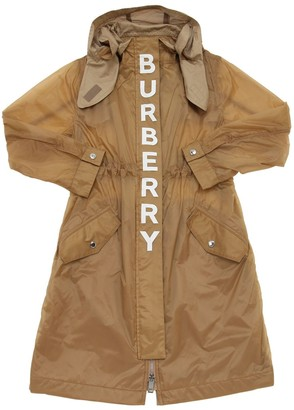 Burberry Hooded Logo Print Nylon Parka