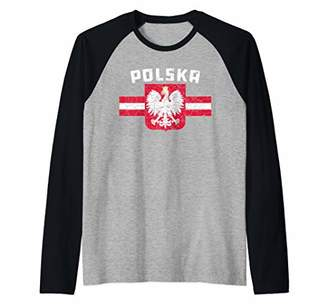 Polska Poland Flag Polish White Eagle Raglan Baseball Tee