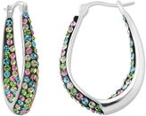 Silver Radiance Crystal Silver-Plated Inside-Out Oval Hoop Earrings