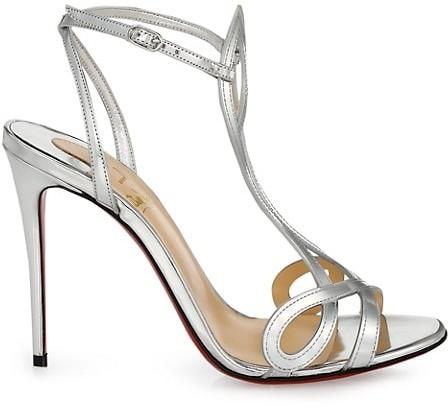 Christian Louboutin Double-L Metallic Leather Sandals