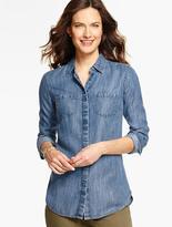 Talbots Long Slit-Back Shirt-Isle Blue Wash