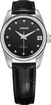 Jowissa Women's J4.057.M Monte Carlo Stainless Steel Mother-Of-Pearl Dial Black Leather Automatic Watch