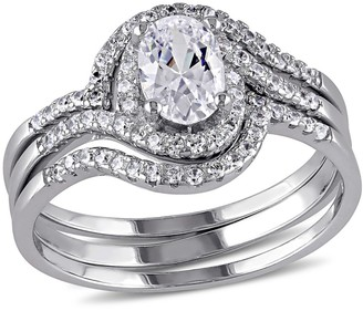 Nobrand No Brand 1.93 CT. T.W. Halo Cubic Zirconia Swirl Bridal Set in Sterling Silver - ()