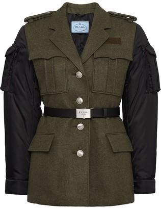 Prada Contrast-Sleeve Belted Coat
