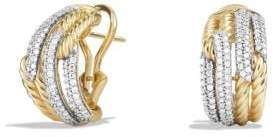 David Yurman Labyrinth Double-Loop Earrings With Diamonds In 18K Gold