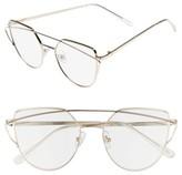 BP Women's 51Mm Thin Brow Angular Aviator Sunglasses - Clear/ Gold