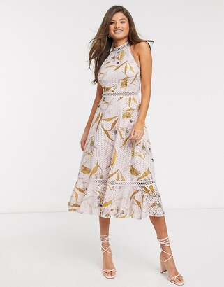 Ted Baker floxyy cabana lace detail halterneck midi dress