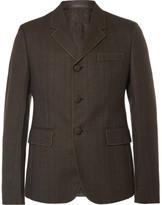 Prada Brown Slim-Fit Contrast-Stitched Wool Blazer