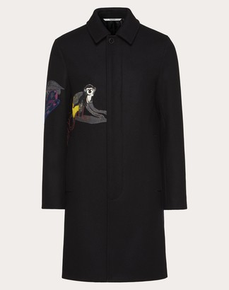 Valentino Coat With Mural Jungle Intarsia Man Black Wool 100% 44