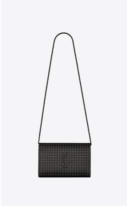Saint Laurent Monogram Chain Wallet In Grain De Poudre Embossed Leather With Dotted Squares