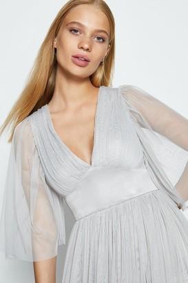 Coast Cape Sleeve Plunge Neck Tulle Maxi Dress