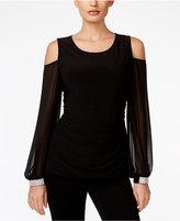 MSK Cold-Shoulder Embellished-Cuff Top