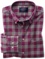 Slim Fit Button-down Washed Oxford Berry And Grey Check Cotton Shirt Single Cuff Size Xs