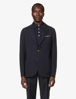 Eleventy Single-breasted regular-fit cotton-blend pique blazer