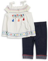 Little Lass Baby Girls Baby Girls Embroidered Top and Leggings Set