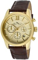 Lucien Piccard Men's 12356-YG-010 Mulhacen Chronograph -Tone Textured-Dial Watch with Brown Leather Watch