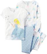 Carter's White 4-pc. Cotton Princess with Crown Pajama Set - Preschool Girls 4-8