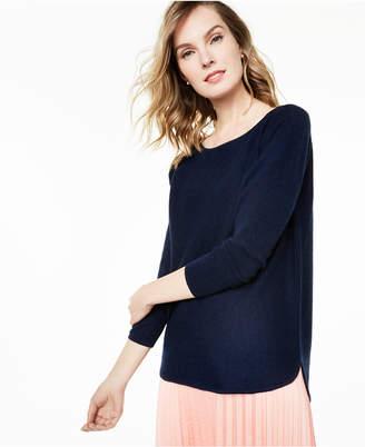 Charter Club Pure Cashmere Long-Sleeve Shirttail Sweater, Regular & Petite Sizes