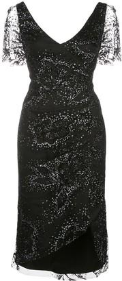 Marchesa Glitter Tulle Midi Dress
