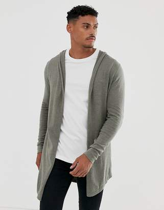 Asos Design DESIGN hooded open cardigan with curved hem in khaki-Brown