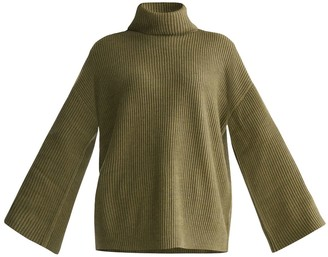 Paisie Roll Neck Oversized Jumper With Wide Sleeves In Green