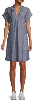 Max Studio Short-Sleeve Linen-Blend Dress