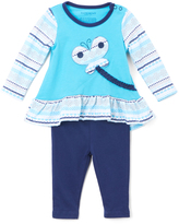 Buster Brown Medieval Blue & Cyan Butterfly Ruffle Tee & Leggings - Infant