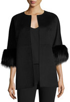Michael Kors Cookie Collarless Car Coat with Fox Fur Cuffs, Black