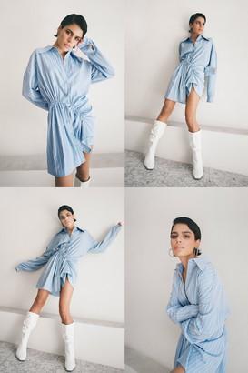 Nasty Gal Womens Ocean Eyes Stripe Shirt Mini Dress - Blue - 12