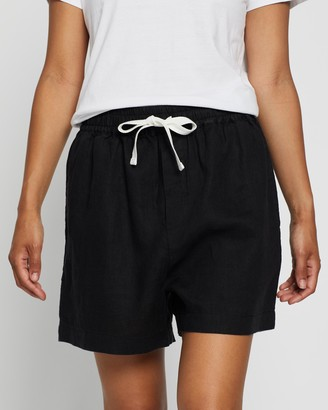 Assembly Label - Women's Black Shorts - Ease Linen Shorts - Size 6 at The Iconic
