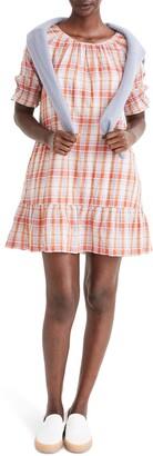 Madewell Plaid Ruffle Sleeve Popover Minidress