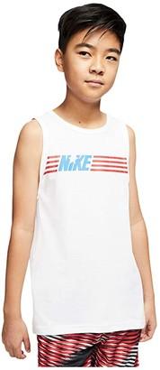 Nike Kids NSW Americana Tank Top (Little Kids/Big Kids) (Dark Grey Heather/White) Boy's Sleeveless