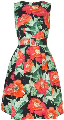 Oscar de la Renta poppy-print belted A-line dress