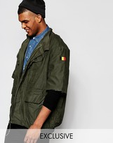 Reclaimed Vintage Military Jacket With Raw Cut Sleeves