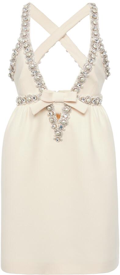 Miu Miu Women's Pearl and Crystal Embellished Crepe Mini Dress - White - Moda Operandi
