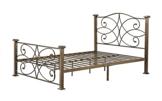 Overstock Full size Gold Metal Platform Bed Frame with Headboard and Footboard - Pictured