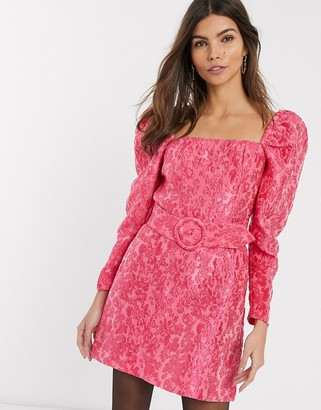 And other stories & puff sleeve belt detail mini dress in pink floral jacquard