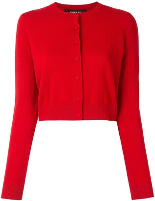Paule Ka Heart-Patch Round Neck Cardigan