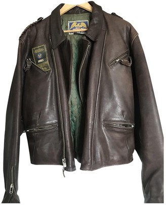 Avirex Brown Leather Leather Jacket for Women