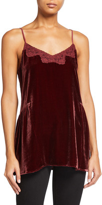 Johnny Was Apolskis Lace-Trim Velvet Camisole