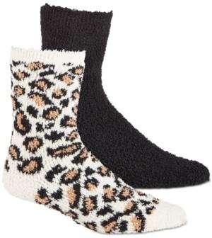Jenni Women's 2-Pk. Animal-Print & Solid Cozy Crew Socks, Created for Macy's