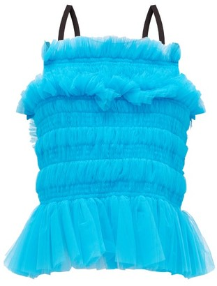 Molly Goddard Betsy Smocked Tulle Top - Womens - Blue