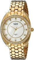 Burgi Women's BUR145YG Yellow Gold Quartz Watch With Swarovski Crystal and Diamond Mother of Pearl Dial With Yellow Gold Bracelet