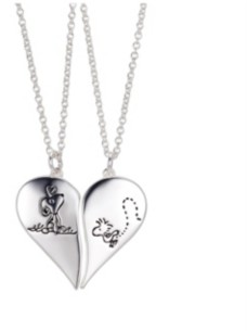 """Peanuts Fine Silver Plated Snoopy"""" and """"Woodstock"""" Best Friends Pendant Necklace Set, 16""""+2"""" for Unwritten"""