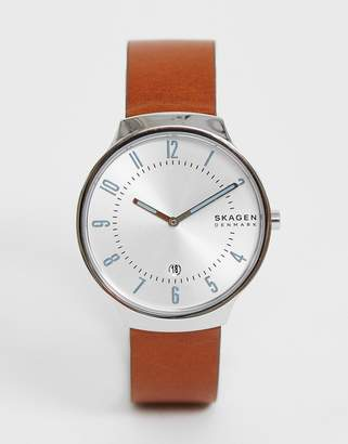 Skagen SKW6522 Grenen Slim leather watch-Tan