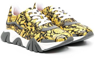 Versace TEEN printed lace-up trainers